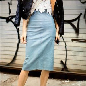 Dresses & Skirts - Gray blue 100% leather pencil skirt